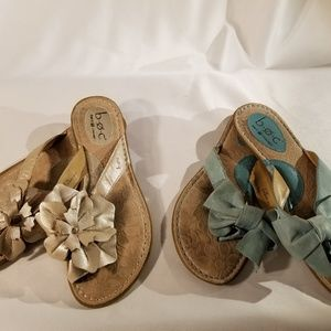 2 pair BOC Born Concept Blue and Silver sandals